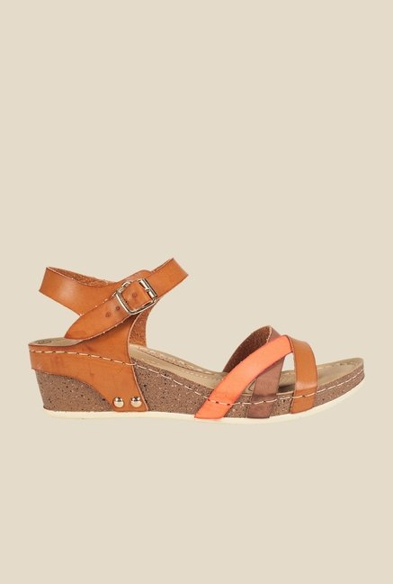 Khadim's Tan Ankle Strap Wedges