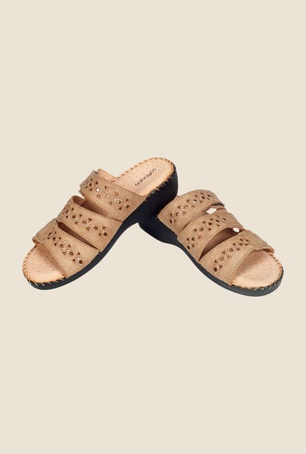 Khadim's Khaki Wedge Heeled Sandals