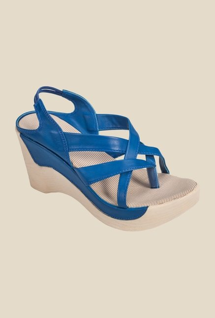 Khadim's Blue Sling Back Wedges
