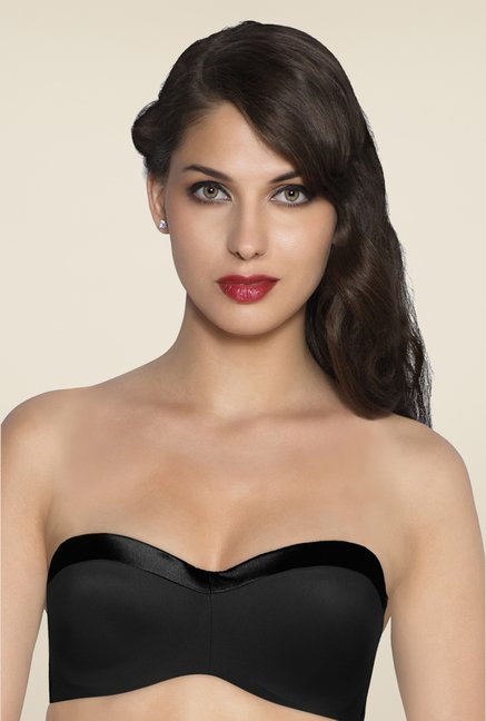 Amante Black Satin Edge Bandeau Bra