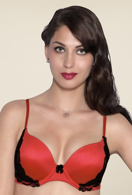 Amante Orange Padded Plunge Bra
