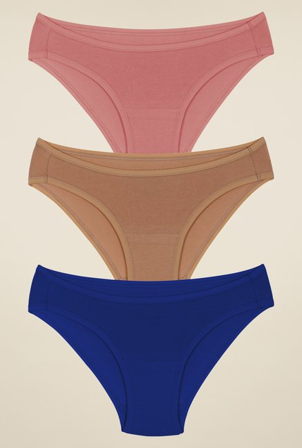 Amante Pink, Beige & Blue Bikini Panties (Pack Of 3)