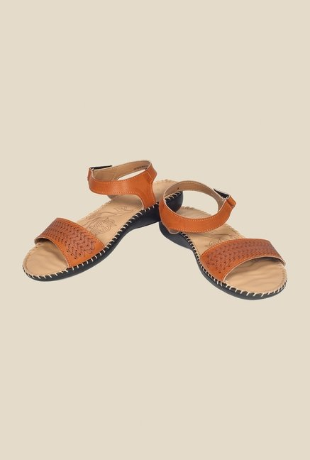 Khadim's Brown Ankle Strap Sandals