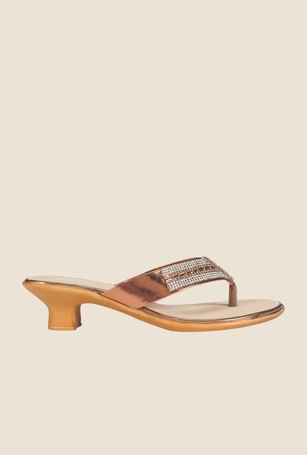 Khadim's Copper & Gold Thong Sandals