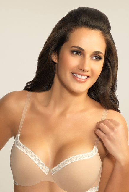 Amante Beige With White Trim Seamless Bra
