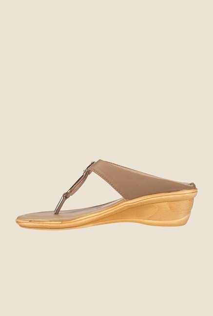 Khadim's Gold & Brown T-Strap Wedges