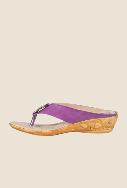 Khadim's Purple Wedge Heeled Sandals