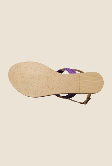 Khadim's Purple & Golden Back Strap Sandals