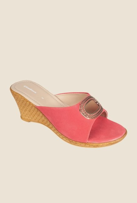 Khadim's Pink Wedge Heeled Sandals