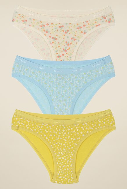 Amante White, Sky Blue & Yellow Bikini Panties (Pack Of 3)