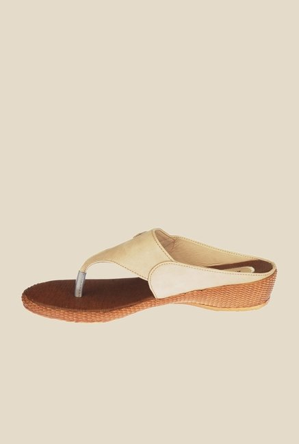 Khadim's Beige Wedge Heeled Sandals