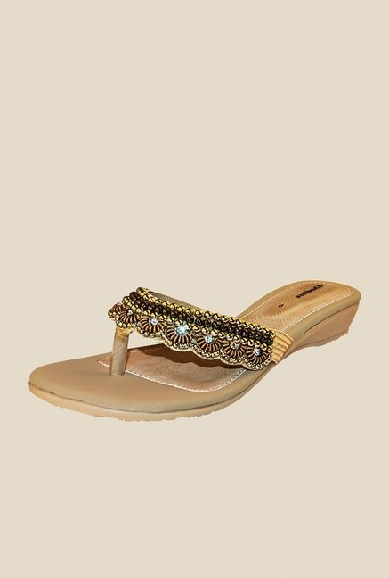 Khadim's Gold Thong Sandals