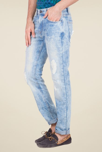 United Colors of Benetton Blue Tattered Jeans