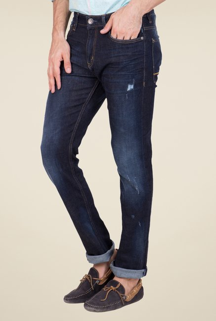 United Colors of Benetton Navy Heavily Washed Jeans