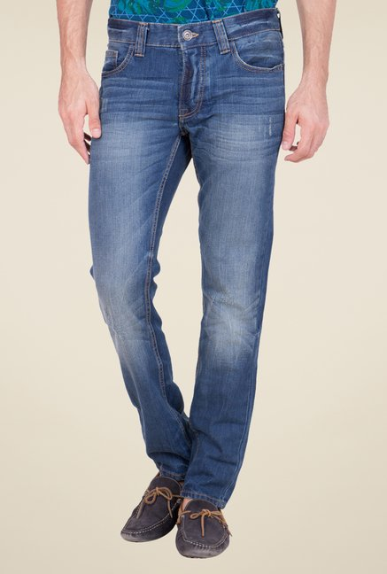 United Colors of Benetton Blue Heavily Washed Jeans