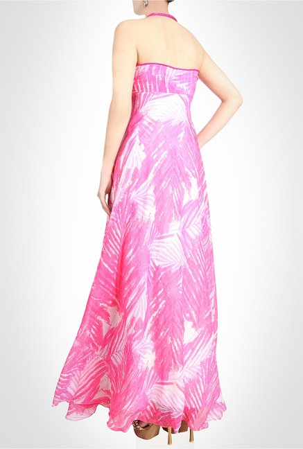 Arpan Vohra Designer Wear Printed Pink Maxi Dress by Kimaya