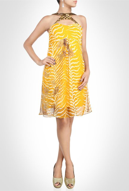 Arpan Vohra Designer Wear Yellow Printed Dress by Kimaya