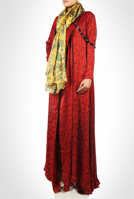Huma Adnan Designer Wear Red Printed Maxi Dress by Kimaya