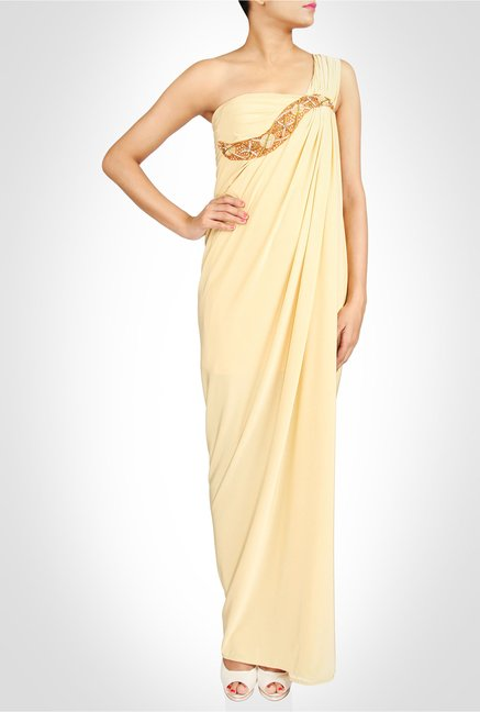 Saumya Gupta Designer Wear Grecian Cream Gown by Kimaya