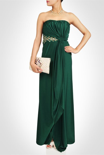 Saumya Gupta Designer Wear Emerald Green Gown by Kimaya