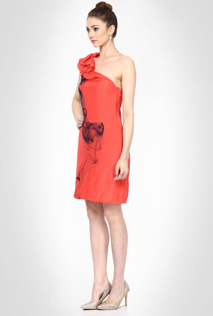 Gaurav Gupta Designer Wear Coral Smoke Dress by Kimaya