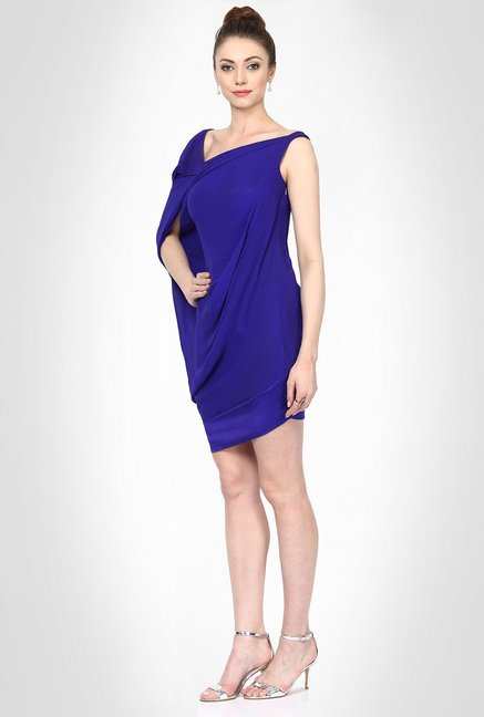 Gaurav Gupta Designer Wear Royal Blue Drape Dress by Kimaya
