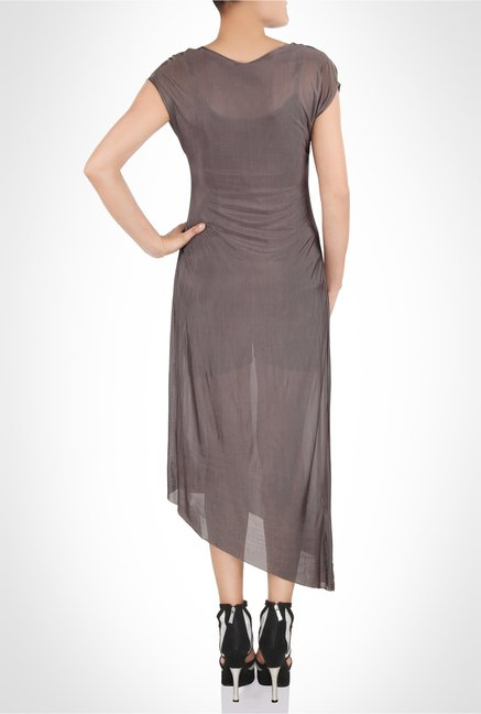 James Farera Designer Wear Brown Asymmetric Dress by Kimaya