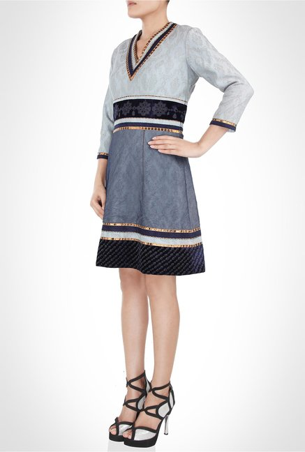 JJ Valaya Designer Wear Blue Metallic Dress by Kimaya