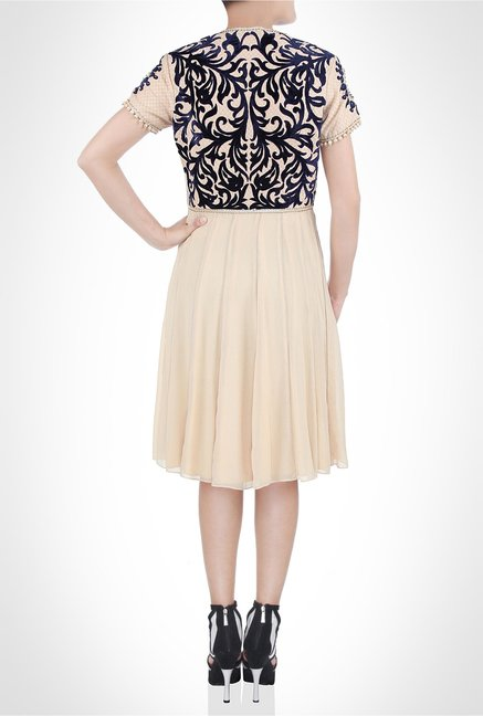 JJ Valaya Designer Wear Beige Velvet Dress by Kimaya
