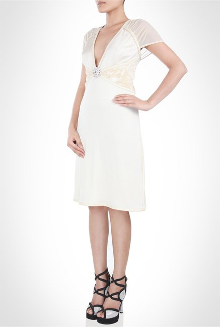 JJ Valaya Designer Wear Plunging Neck White Dress by Kimaya