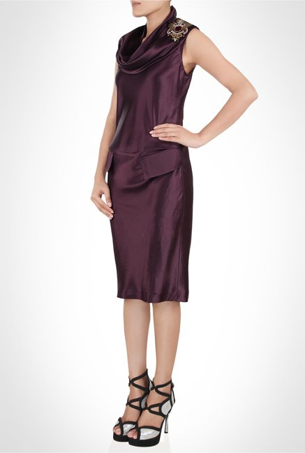 Tarun Tahiliani Designer Wear Maroon Dress by Kimaya