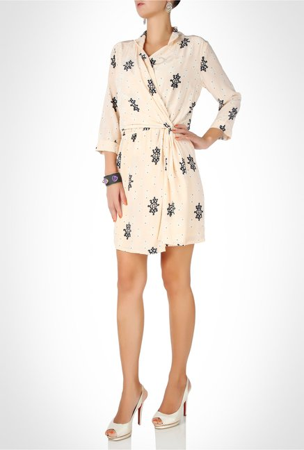 Rinku Dalmal Designer Wear Peach Wrap Dress by Kimaya