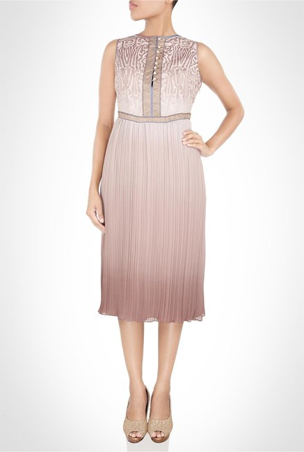 JJ Valaya Designer Wear Beige Pleated Dress by Kimaya