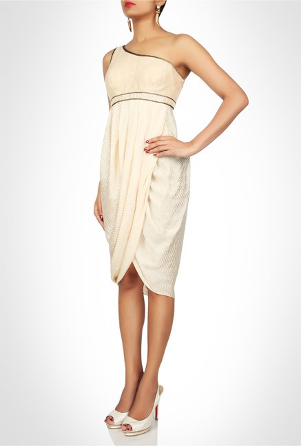 Soigne K Designer Wear Cream Tulip Cut Dress by Kimaya