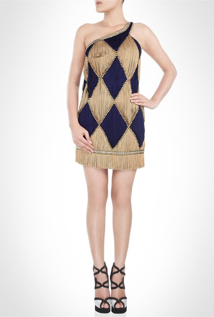 Surily Goel Designer Wear Beige Fringe Dress by Kimaya