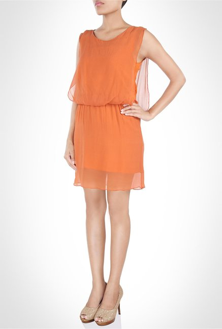 Rinku Dalmal Designer Wear Chiffon Orange Dress by Kimaya