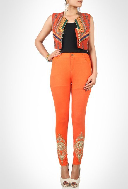 Huma Adnan Designer Orange Embroidered Jeggings by Kimaya