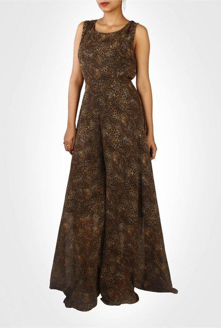 Nikita Mhaisalkar Designer Wear Brown Jumpsuit by Kimaya