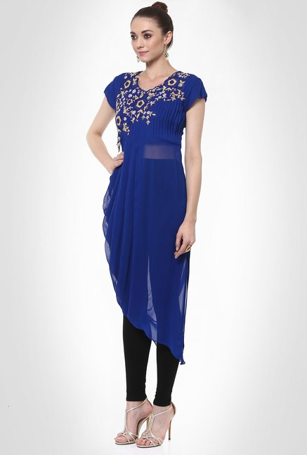 Six Degree Designer Wear Blue Kurti by Kimaya