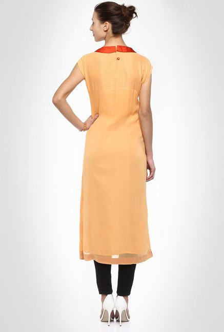 Six Degree Designer Wear Orange Kurta by Kimaya