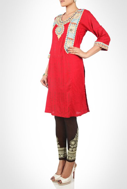 Huma Adnan Designer Wear Red Kurti by Kimaya