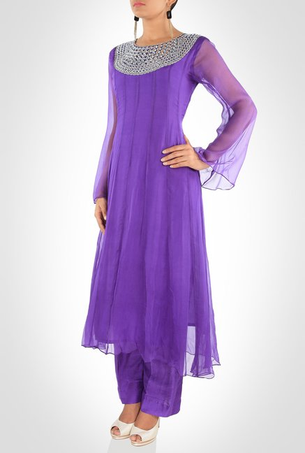 Aarti Dixit Designer Wear Purple Suit Set by Kimaya