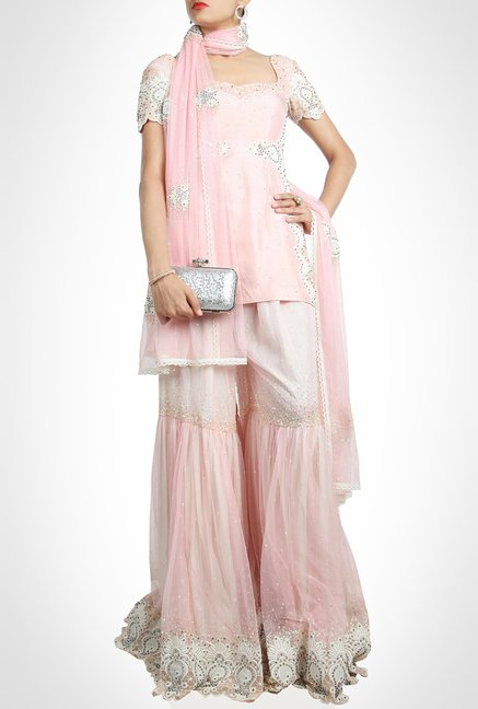 Anunakki Designer Wear Pink Suit Set by Kimaya