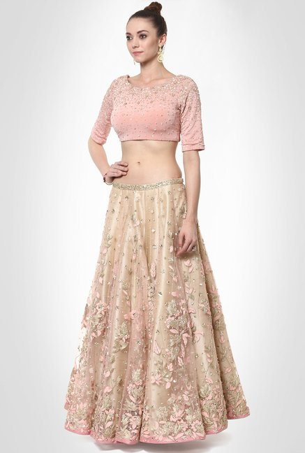 Saurabh Jindal Designer Wear Peach Suit Set by Kimaya