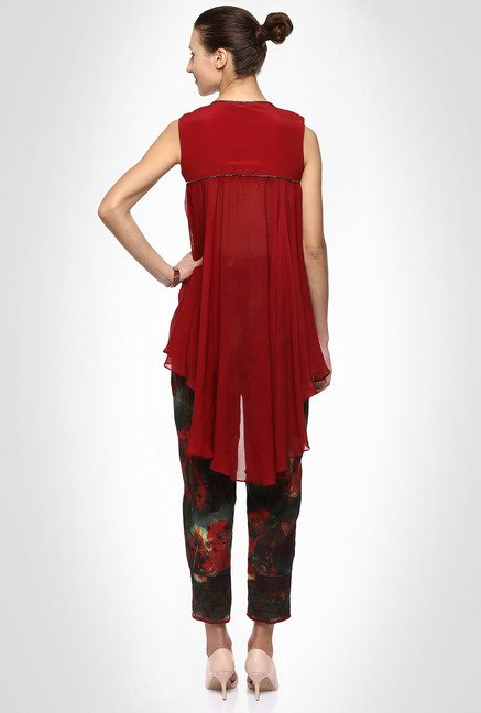 Kakondara Designer Wear Maroon Suit Set by Kimaya
