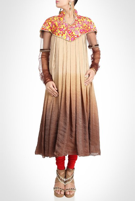 Neeti Bamb Designer Wear Beige Suit Set by Kimaya