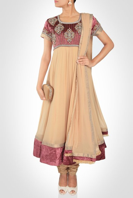 Nausheen Osmany Designer Wear Beige Suit Set by Kimaya