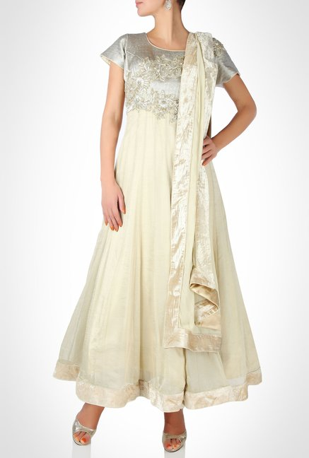 Nausheen Osmany Designer Wear Ivory Suit Set by Kimaya