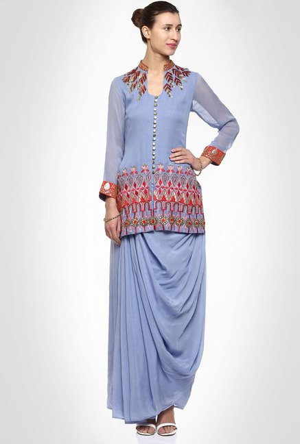 Saumya Pahwa Designer Wear Lavender Suit Set by Kimaya