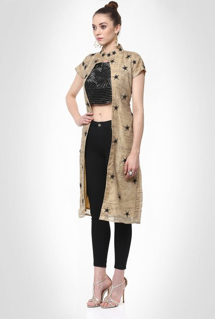 Avisha Designer Wear Beige Embellished Jacket by Kimaya